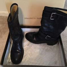 Shoes Franco Sarto leather biker boots. Really cute with jeans! Worn 4-5 times, in great condition. Franco Sarto Shoes