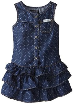 Calvin Klein Little Girls' Blue Denim Dress with One Pocket On Chest, Blue, 3T…
