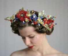 Poppy Flower Crown Bohemian Hair Accessory Red by ChatterBlossom