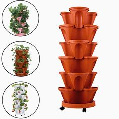 Myfreed Strawberry Planter Pot Stackable Strawberry Herb Flower Vegetable Planter Vertical Garden Indoor Outdoor Brick Red Pot with Tray)
