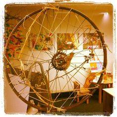"""More weaving on a bicycle wheel - from The Zart Art Play Based Learning Showroom at the Early Life Foundations Centre ("""",)"""