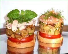 Салат - ЗАКУСКА из печёных баклажан и сёмги. рецепт с фотографиями
