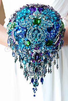 """Cascading Blue Teal Peacock Wedding Brooch Bouquet. """"Peacock Crown"""" Blue, Purple, Teal Wedding Bouquet. Bridal Broach Bouquet. Ruby Blooms"""