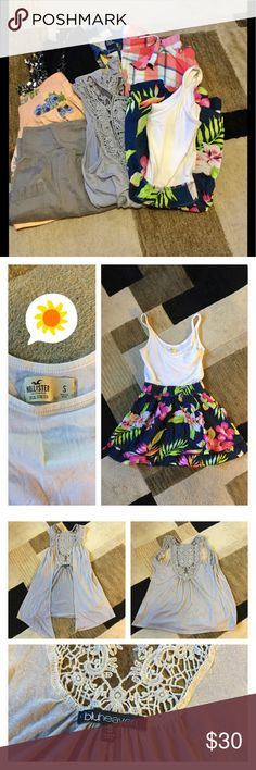 EUC 4 shirts, 2 shorts, 1 dress 1. Black over shirt w/ sequins by Charlotte Russe size S 2. Orangeish Pink shorts with flowers by XXI in size S 3. Gray skirt by Old Navy in size S 4. Gray over shirt with beautiful cut out detail by Bluheaven size S 5. Floral Summer Dress by Hollister in size S 6. Long sleeved pink plaid shirt by Gilly Hicks size S 7. Long sleeved blue plaid shirt by American Eagle size 6 (fits as a small)  ❗️because of 5lbs shipping limit this can't be bundled, I will give a…
