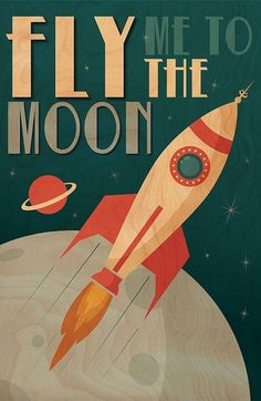 """Fly Me to the Moon"" Printed Wood Wall Art - art prints retro style Collage Mural, Bedroom Wall Collage, Photo Wall Collage, Poster Collage, Retro Kunst, Retro Art, Retro Vintage, Vintage Prints, Modern Retro"