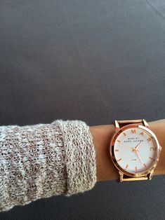 It's okay to be fashionably late when you're wearing a gold Marc Jacobs watch.