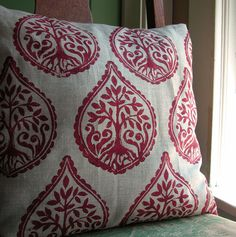 Russet Tree and Fern hand printed on natural gray linen pillow case. $40.00, via Etsy.  I wonder if she could adjust the color a bit?