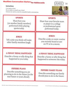More mealtime conversation starters for adolescents. Conversation Starters, Adolescence, Family Meals