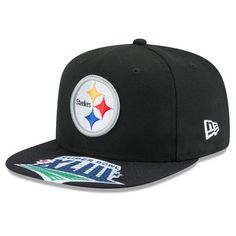 Men's New Era Black Pittsburgh Steelers Super Bowl XLIII On The Fifty Champions Jumbo Vize Original Fit 9FIFTY Adjustable Hat