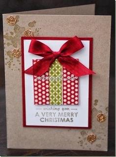 Another version -- she used washi tape.  Love the splotches and the kraft paper!