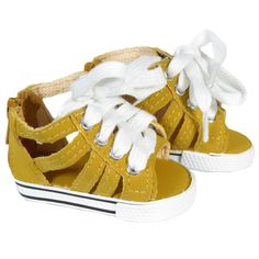 American Girl Doll  Shoes - Silly Monkey - Mustard Gladiator Sneaker Sandals, $7.00 (http://www.silly-monkey.com/products/mustard-gladiator-sneaker-sandals.html)