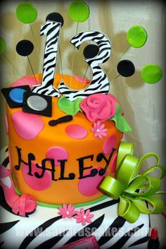 Teen Birthday cake LOVE IT! Yes but want the orange to be neon green or pink 12th Birthday Cake, Birthday Cakes For Teens, 13th Birthday Parties, Teen Birthday, Birthday Cupcakes, Birthday Ideas, Spa Cake, Cake Boss, Cute Cakes