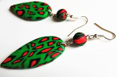 Polymer Clay Earrings in Red, Green and Black, Fashion Earrings, Garvey Colours, Dangle Earrings, Gift For Her, by Back2Natural4u on Etsy