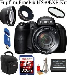 Fujifilm FinePix HS30EXR Digital Camera (Black) + 0.45X Wide Angle Lens + 2x Telephoto Lens + UV Filter + 32GB Memory Card + Card Reader + Padded Camera Case + Cleaning kit + NP-W126 Li-Ion Battery Pack + Cleaning Kit + Mini Tripod by Fuji. $449.00. The HS30EXR offers versatility and optical quality to those photographers who don't want the lens-changing capability of a DSLR, but still want total control over their images. Equipped with advanced features and a high performance...