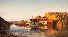Evening in Ny-Hellesund Amaldus Clarin Nielsen (1838-1932)