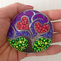 Tree of Life Dot Art Painted stone painted rock Fairy garden valentine paint rock | romantic valentine painted rock DIY for girl | love painting rock for valentine decoration ideas | heart painted rock #handpainted