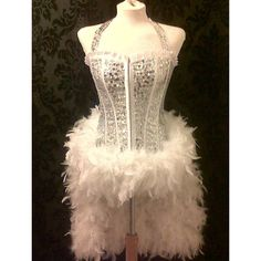 Burlesque/Showgirl Deluxe Silver/White Sequin Costume ($285) ❤ liked on Polyvore featuring costumes, burlesque, dresses, performing, can can dancer costume, white halloween costumes, fancy costumes, showgirl costume and burlesque showgirl costume