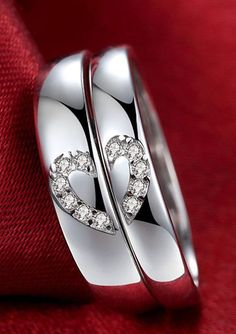 Matching Couple's Heart Promise Rings with CZ Diamonds, Cheap Wedding Bands Set @ iDream-Jewelry.Com
