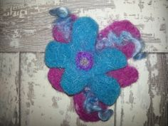 Double flower handmade Needle felted brooch.