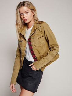 Shrunken Officer Jacket | Tomboy meets femme in this military-inspired jacket with embellished shoulders and a structured shape. Extra…