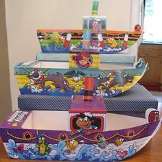 18 Cardboard Boat Children Party Food Box Trays 3 Ship Designs Kid Ship