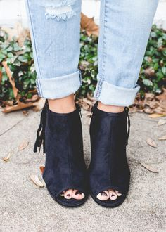 Stepping Out in Style Peep Toe Bootie - Black