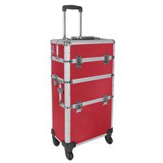 Champ Aluminium Koffer Trolley Pilotenkoffer Friseurkoffer Visagistenkoffer 4 Rollen   Rot