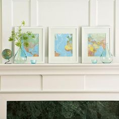 I'm thinking of all of the National Geographic maps that I tossed when clearing out to move...  framed maps on mantel bhg