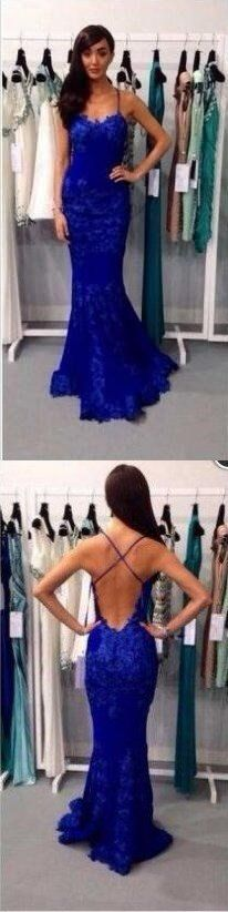 Spaghetti Straps Mermaid Royal Blue Lace Backless Evening Long Prom Dress, PD0150 The dress is fully lined, 4 bones in the bodice, chest pad in the bust, lace up back or zipper back are all available,