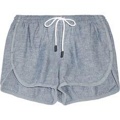 Rag & bone Cotton-chambray shorts ($150) ❤ liked on Polyvore featuring shorts, bottoms, short, pants, light blue shorts, short shorts, elastic waistband shorts, basic tee shirts and stretch waist shorts