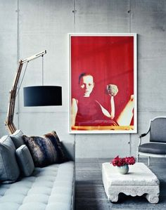 A lot of concrete. Interior design. Living room ideas. Amazing concrete table