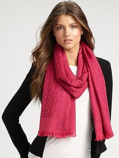 Tory Burch - Wool All-Over Logo Scarf