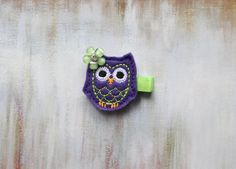 Baby / Toddler / Girl Hair Clips, Purple Owl Hair Clip on Etsy, $4.00 #hairclips #owl #partyfavors #toddlers #babygift