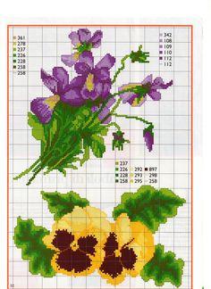flores Cross Stitch Charts, Cross Stitch Designs, Cross Stitch Patterns, Cross Stitching, Cross Stitch Embroidery, Embroidery Patterns, Cross Stitch Flowers, Pansies, Needlework
