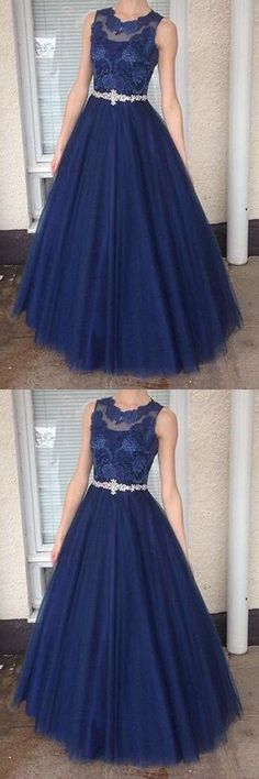 HIGH NECK DARK BLUE LACE LONG EVENING DRESS PROM DRESSES PARTY GOWNS WITH BEADED BELT