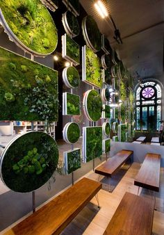 10 Amazing Benefits of Eco-Friendly Living Wall Partitions Woodworking specializes in nature design & decor, with unique handmade wooden tables, reclaimed barn beam lightning, and other woodworking projects. Check out Green Design, Green Interiors, Plant Design, Nature Design, Decor Design, Green Interior Design, Living Wall, Wall Design, Eco Friendly Living