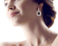 Elegantný šperkový set - naušnice + náhrdelník, v strieborno-čiernom prevedení s kryštálikmi,, Earrings, Jewelry, Fashion, Ear Rings, Moda, Stud Earrings, Jewlery, Jewerly, Fashion Styles