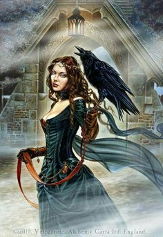 """Lady and Her Raven.  """"Fantasy Art"""""""