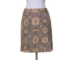 Talbots Black Beige Gold Print Pockets Cotton Stretch Straight Skirt Size 6P #Talbtos #Straight