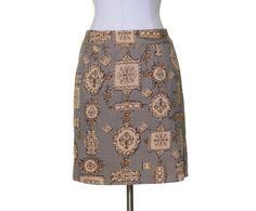 Talbots Black Beige Gold Print Pockets Cotton Stretch Straight Skirt Size 6P #Talbtos #Straight