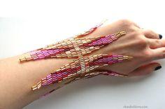 Beadwork bracelet peachcolored beads from the by elenahohlova, $52.00