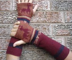 Wool Arm warmers Upcycled fingerless gloves made by SewFreshAgain, $24.95