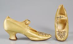 Evening shoes Parlor Shoe Store  Date: ca. 1894 Culture: American Medium: Silk, beads, rhinestones Credit Line: Brooklyn Museum Costume Collection at The Metropolitan Museum of Art, Gift of the Brooklyn Museum, 2009; Gift of Mrs. Ferris J. Meigs, 1961 Accession Number: 2009.300.5255a, b