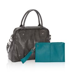 Couture Street Bundle in City Charcoal Snake / Teal Affair Pebble for $45 - Turn heads with the statement-making Couture Street Bundle – available only when you host a party! Add functionality to this sturdy, stylish bag with additional pockets. Complete your look with the Via Noon Wristlet, which is large enough to tote your small tablet and is included as part of the bundle! Via @thirtyonegifts