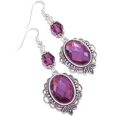 Calypso Faceted Crystal Gothic Earrings w Swarovski Crystals Purple (€17) ❤ liked on Polyvore featuring jewelry, earrings, cabochon earrings, filigree jewelry, crystal beads jewellery, purple crystal earrings and beads jewellery