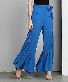 Blue Chiffon High-Waist Ruffle Palazzo Pants $35