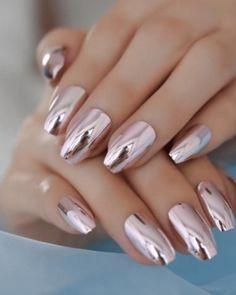 Pink Metallic Mirror Coffin Nails – Fake Nail Store - New Site Acrylic Nail Designs, Nail Art Designs, Acrylic Nails, Coffin Nails, Nails Design, Marble Nails, Hot Nails, Pink Nails, Nude Nails