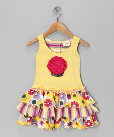 Another great find on #zulily! Yellow Blossom Cupcake Dress - Toddler & Girls #zulilyfinds