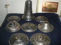 Large Lot Vintage lamp part chandelier plate cap brass Bronze Kerosene Oil sconc