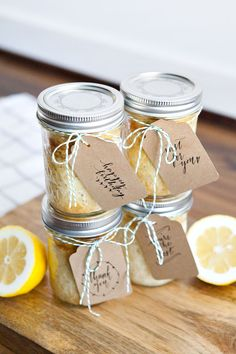 "Free printable tags: ""Thank You"", ""You're the Best"", ""Just for You"" and ""Happy Birthday"" + recipe for Lemon Poppyseed Cupcakes in a Jar"